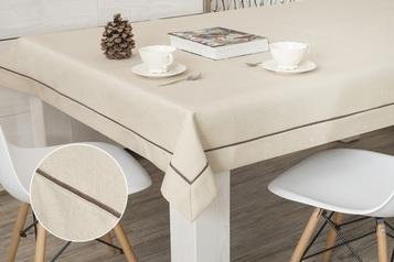 160x300 cm obrus imitujący len cappuccino z brązową lamówką (002-50)