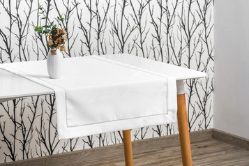60x120 cm bieżnik imitujący len biały ze srebrną lamówką (002-12)