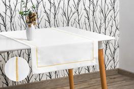 40x140 cm bieżnik  imitujący len biały ze złotą lamówką (002-10)