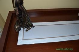 20x140 cm bieżnik imitujący len biały z beżową lamówką (002-6)