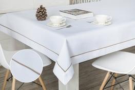 160x300 cm obrus imitujący len biały z beżową lamówką (002-45)