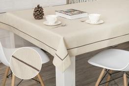 150x220 cm obrus imitujący len cappuccino z brązową lamówką (002EB-35)