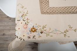 150x220 cm prostokąt szydełko w różowe kwiaty (3903R-70)
