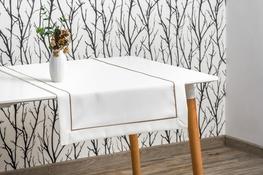 40x200 cm bieżnik imitujący len biały z beżową lamówką (002-14)