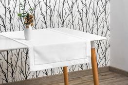 40x140 cm bieżnik  imitujący len biały ze srebrną lamówką (002XBO-10)