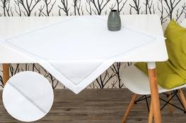 80x80 cm kwadrat imitacja lnu biały ze srebrną lamówką (002-10)