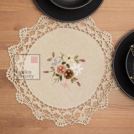 30 cm serwetki szydełkowe ecru w kwiaty-paczka 6 szt (3903A-3)
