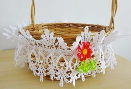 Opaska gipiurowa na koszyk biała+kolorowy kwiatek-paczka 10 szt (E5-4,5)