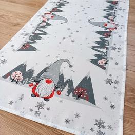 55x120 cm bieżnik świąteczny drukowany SKRZATY W SZAREJ CZAPCE  (4376-12)