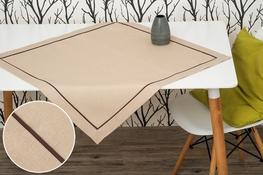 80x80 cm kwadrat imitujący len cappuccino z brązową lamówką (002-10)