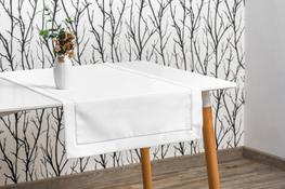 40x200 cm bieżnik imitujący len biały ze srebrną lamówką (002-14)
