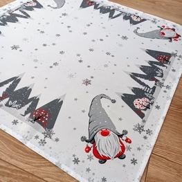 85x85 cm kwadrat świąteczny drukowany SKRZATY W SZAREJ CZAPCE  (4376-12)