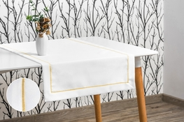 40x160 cm bieżnik imitujący len biały ze złotą lamówką (002-12)